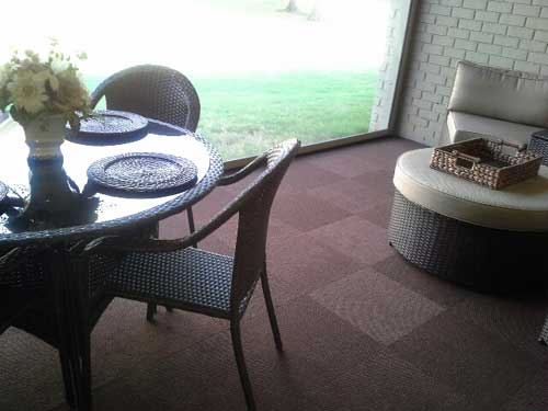 carpeted patio deck